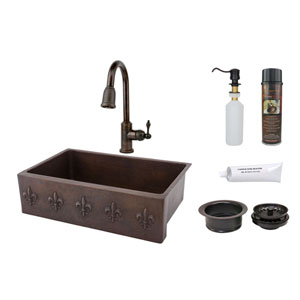 33-Inch Hammered Copper Fleur De Lis Apron Single Bowl Kitchen Sink with Pull Down Faucet
