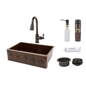 33-Inch Hammered Copper Star Design Apron Single Bowl Kitchen Sink with Pull Down Faucet, Matching Drain, and Accessories.