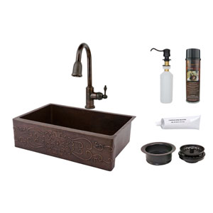 33-Inch Hammered Copper Scroll Design Apron Single Bowl Kitchen Sink with Pull Down Faucet, Matching Drain, and Accessories.