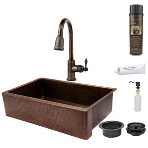 35 Inch Hammered Copper Apron Single Bowl Kitchen Sink With Pull Down Faucet