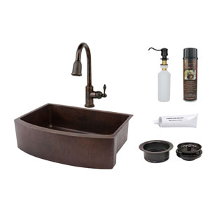 33-Inch Hammered Copper Rounded Apron Single Bowl Kitchen Sink with Pull Down Faucet