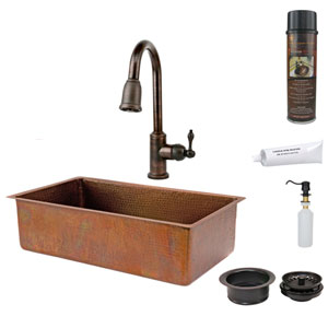 33-Inch Antique Hammered Copper Single Bowl Kitchen Sink with Pull Down Faucet, Matching Drain, and Accessories.