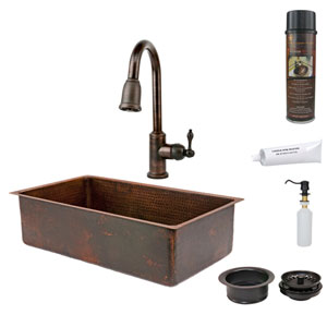 33-Inch Hammered Copper Single Bowl Kitchen Sink with Pull Down Faucet, Matching Drain, and Accessories.