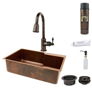 33-Inch Hammered Copper Single Bowl Kitchen Sink with Space For Faucet, Pull Down Faucet, Matching Drains, and Accessories.