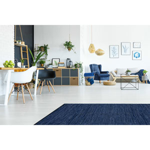 Matador Blue Leather Flat Weave Rectangular: 9 Ft. x 12 Ft. Rug