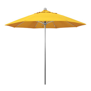 9 Foot Stainless Steel Single Pole Umbrella Single Vent Anodized/Sunbrella/Sunflower Yellow