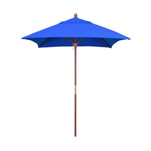 6 X 6 Foot Umbrella Wood Market Pulley Open Marenti Wood/Sunbrella/Pacific Blue