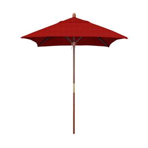 6 X 6 Foot Umbrella Wood Market Pulley Open Marenti Wood/Sunbrella/Jockey Red