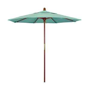 9 Foot Wood Market Umbrella Pulley Open Marenti Wood/Sunbrella/Spectrum Mist