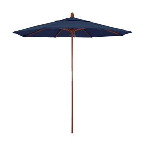 9 Foot Wood Market Umbrella Pulley Open Marenti Wood/Sunbrella/Spectrum Indigo