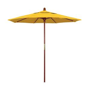 9 Foot Wood Market Umbrella Pulley Open Marenti Wood/Sunbrella/Sunflower Yellow