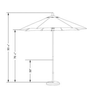 7.5 Foot Umbrella Wood Market Pulley Open Marenti Wood/Sunbrella/Tuscan