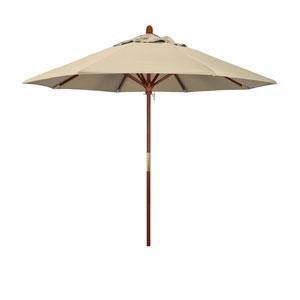 9 Foot Umbrella Wood Market Pulley Open Marenti Wood/Sunbrella/Antique Beige