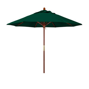 9 Foot Umbrella Wood Market Pulley Open Marenti Wood/Sunbrella/Forest Green