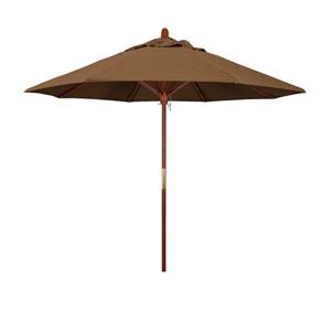 9 Wood Market Umbrella Pulley Open Marenti Wood/Sunbrella/Canvas Teak