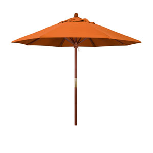 9 Foot Umbrella Wood Market Pulley Open Marenti Wood/Pacifica/Tuscan
