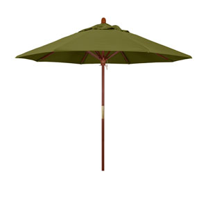 9 Foot Umbrella Wood Market Pulley Open Marenti Wood/Pacifica/Palm