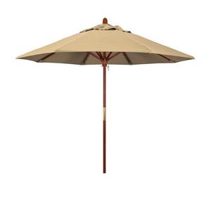 9 Foot Umbrella Wood Market Pulley Open Marenti Wood/Pacifica/Beige