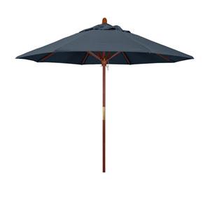 9 Foot Umbrella Wood Market Pulley Open Marenti Wood/Pacifica/Sapphire