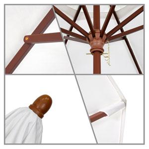 9 Foot Umbrella Wood Market Pulley Open Marenti Wood/Pacifica/Canvas
