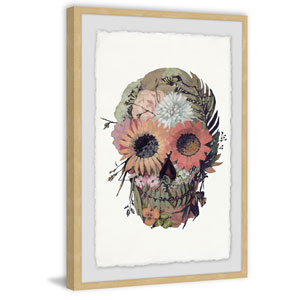 Floral Skull 36 x 24 In. Framed Painting Print