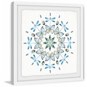 Blue Bug Circles 18 x 18 In. Framed Painting Print
