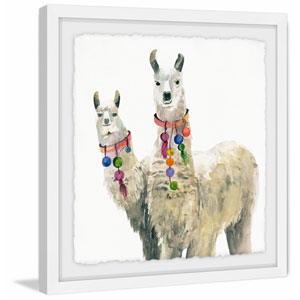Llama Pair 24 x 24 In. Framed Painting Print