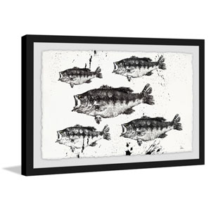 Black and White Fish 8 x 12 In. Framed Painting Print