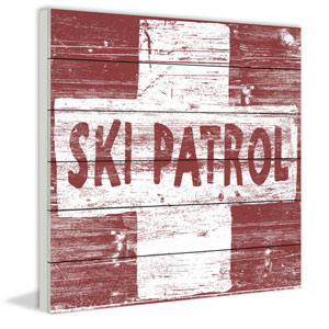 Ski Patrol Cross 40 x 40 In. Painting Print on White Wood