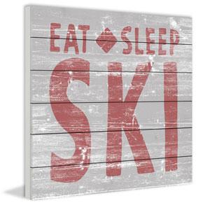 Eat Sleep Ski 32 x 32 In. Painting Print on White Wood