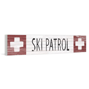 Ski Patrol Crosses 14 x 70 In. Painting Print on White Wood