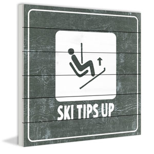 Ski Tips up Diagram 32 x 32 In. Painting Print on White Wood