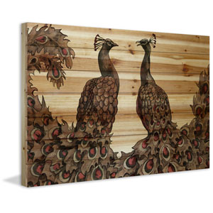 Peacock Partner Bold I 30 x 45 In. Painting Print on Natural Pine Wood