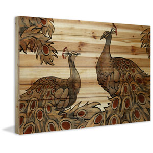 Peacock Partner Bold II 30 x 45 In. Painting Print on Natural Pine Wood