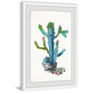 Little Blue Cactus 60 x 40 In. Framed Painting Print