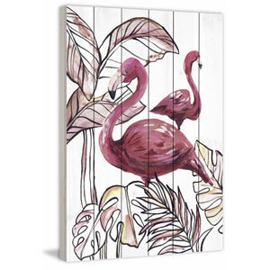 Pink Flamingo I 45 x 30 In. Painting Print on White Wood