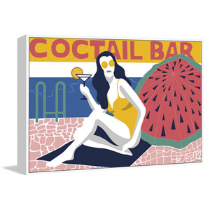 Cocktail Bar Floater 30 x 45 In. Framed Painting Print on Canvas