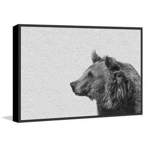 Side Furry Bear II Floater 30 x 45 In. Framed Painting Print on Canvas