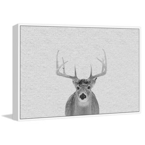 Serious Deer Floater 30 x 45 In. Framed Painting Print on Canvas