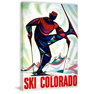 Ski Colorado 60 x 40 In. Painting Print on Wrapped Canvas