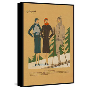 Ladies Skiing Floater 60 x 40 In. Framed Painting Print on Canvas