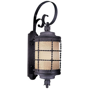 Kingswood Iron 34-Inch One-Light Fluorescent Outdoor Lantern Wall Sconce with French Scavo Glass