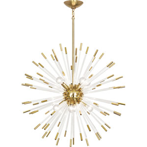 Alexis Brass and Clear Acrylic 28-Inch Eight-Light Chandelier