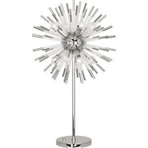 Alexis Polished Nickel and Clear Acrylic Eight-Light Table Lamp
