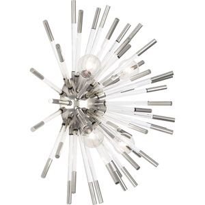 Alexis Polished Nickel and Clear Acrylic Four-Light Wall Sconce