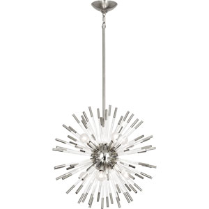 Alexis Polished Nickel and Clear Acrylic 20-Inch Eight-Light Chandelier