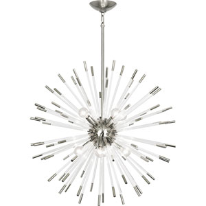 Alexis Polished Nickel and Clear Acrylic 28-Inch Eight-Light Chandelier