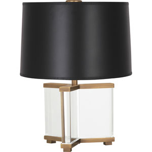 Avon Clear Crystal and Aged Brass 16-Inch One-Light Table Lamp with Black Shade