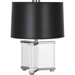 Avon Clear Crystal and Polished Nickel 16-Inch One-Light Table Lamp with Black Shade