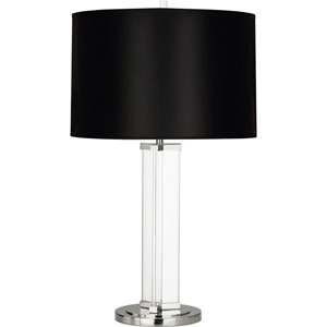 Avon Clear Glass and Polished Nickel 29-Inch One-Light Table Lamp with Black Shade